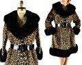 Леопардовый женский меховой пуховик для дамы.