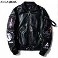 Модные кожаные куртки-(бомбер ма-1) с логотипом для мужчин