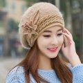 Модные женские, вязанные, меховые шапки-(Цветок).