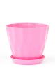 Горшок Карат с подставкой, розовый, d190mm