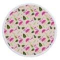 Пляжное полотенце SUNROZ Flamingo круглое покрывало Фламинго 1, 150 см (SUN0873)