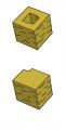 Блок заборный угловой, желтый