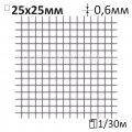 Сетка штукатурная сварная O0,6x25x25мм/1x30м