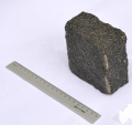 Gabbro. The stone blocks is granite chipped