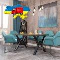 Столы обеденный Бинго Лайт Металл-дизайн Черный бархат/Аляска 750*1200*750