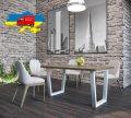 Стол обеденный Астон Металл-дизайн Черный бархат/Вествуд 750*1200*750