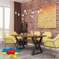 Стол обеденный Астон Металл-дизайн Черный бархат/Дуб античный 750*1200*750
