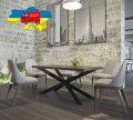 Стол обеденный Икс Металл-дизайн Черный бархат/Аляска 750*1600*800