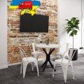 Стол обеденный Фолд Металл-дизайн Черный бархат/Аляска 750*800*800