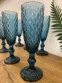 Набор цветных бокалов для шампанского синий Сапфир кедр (6шт.)