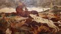 Панно деревянные ручной работы Охота на оленя, репродукция с картины Пауля де Воса