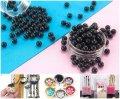 (20 грамм) Круглые бусины БЕЗ отверстия Ø4мм пластик (прим. 600 шт) Цвет - Чёрный (сп7нг-1005)