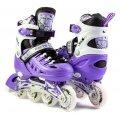 Роликовые коньки раздвижные для детей и подростков со светящимся колесом. Размер стельки S 17-20см,М 20.5-23см