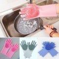 Перчатка-щетка для мытья посуды Силиконовые перчатки для уборки Magic Brush