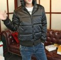 Стильная мужская куртка на молнии Черный, белый
