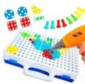 Мозаика конструктор с шуруповертом Creative Puzzle | Детский набор инструментов с мозаикой