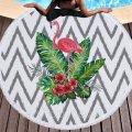 Коврик для пляжа с бахромой Тропический Фламинго,150 см