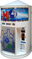 The vending machine of spill of water in the consumer's container