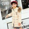 Брендовый детский утепленный зимний пуховик для девочки с капюшоном.