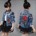 Детска джынсовая куртка для девочек с красивый принтом