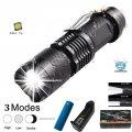 Тактичний кишеньковий ліхтар Bailong BL-1812-T6 zoom, затискач, повний комплект