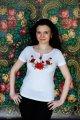 Белая женская вышитая футболка Мак и ромашка
