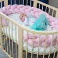 Бортик в детскую кроватку Хатка в виде косички Нежно-розовый, 120 см (одна сторона кроватки)
