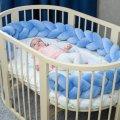 Бортик в детскую кроватку Хатка в виде косички Синий, 120 см (одна сторона кроватки)