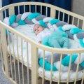 Бортик в детскую кроватку Хатка в виде косички Белый-Серый-Мятный, 120 см (одна сторона кроватки)