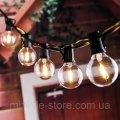 Гирлянда с лампочками 5 метров 2 запасные лампочки черный шнур