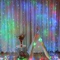 Гирлянда штора водопад 320 LED 3м/2м на прозрачном проводе Разноцвет