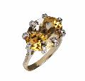 Перстень, золото Au 585° проби із вставками з дорогоцінних і напівкоштовних каменів