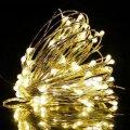 Новогодние гирлянды. Медная проволочная лампа 100LED 10м, Цвет Теплый Силиконовый провод (7109)
