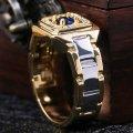 Мужское кольцо бижутерия с камнем под сапфир каблучка