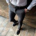Мужские зауженные стильные серые брюки