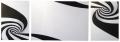 Модульная черно - белая модульная картина маслом Водоворот, триптих