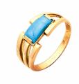 Ювелірне кільце із червоного золота 585 проби з бірюзою 105 00 005г