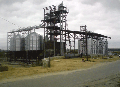 Silo on the concrete basis like MSVU - combined metal granaries for storage of the cleared grain products with standard humidity no more than 14%.