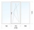 Вікно металопластикове трьохстулкове 1400*2100 WDS