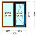 Окна Steko S 300 - окно двухстворчатое гл+по