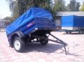 Прицеп грузовой к легковым автомобилям КрКЗ-100 с функцией самосвальной разгрузкой платформы, высота борта 450 мм