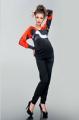Брюки для беременных с замочками, черный габардин