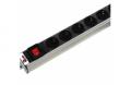 Блок розеток Rem-10 без шнура с выкл., 2 розетки Shuko, вход IEC 60320 C14, 10A, алюм., 10