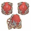 """Коралл - """"Бали"""" арт. 1291. Камни: Коралл, бриллиант, рубин, Кольцо 15,50 гр, Серьги 26,60 гр."""