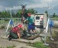 Специальный алюминиевый портальный грузоподъемный кран для использования при технических работах на насосных станциях, например, очистительных сооружениях, пр-во STAHLCraneSystems (Германия)