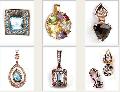 Подвески, золото Au 585 пробы с драгоценными и полудрагоценными камнями