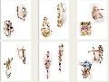 Серьги, золото Au 585 пробы с драгоценными и полудрагоценными камнями
