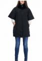 Черное пальто женское 100% пух - воротник мех кролик