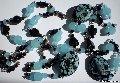 Бижутерия, украшения - колье (бусы) и браслет НОЧНОЙ ПРИБОЙ из стеклянных бусин-лэмпворк ручной работы (комплект)