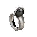 Кільце, золото Au 585° проби, чорні  перли із вставками з дорогоцінних і напівкоштовних каменів